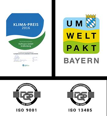 Hofmann CNC Umweltpakt Bayern · Klimapreis · ISO 9001 · ISO 13485