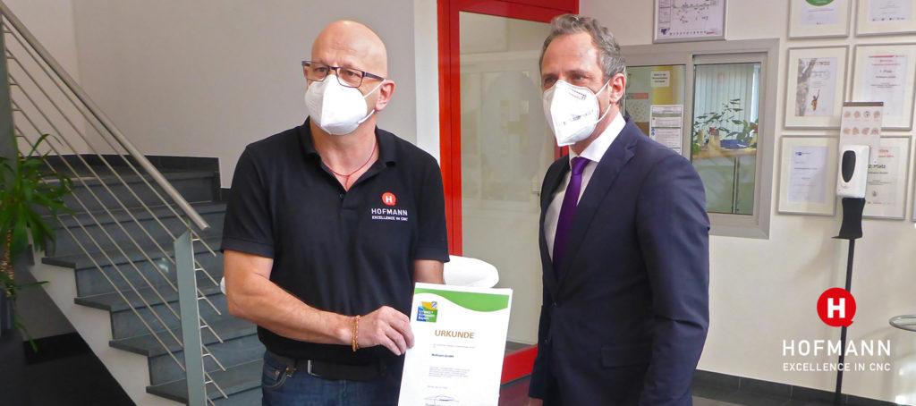 Hofmann CNC erste Urkunde Umweltpakt